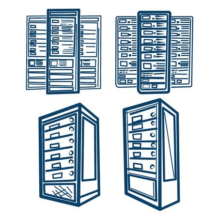server network: Server Rack. Sketch style Vector of Server Rack. Outline.