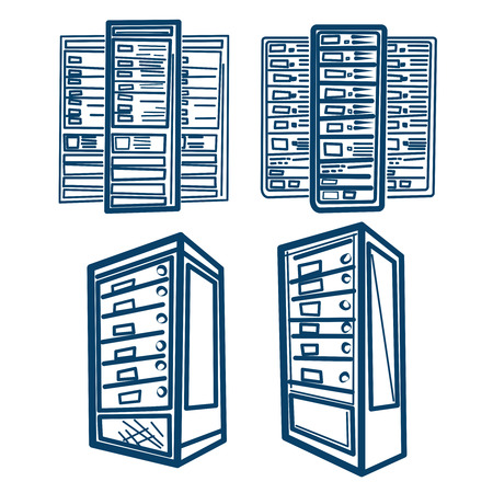 Server Rack. Sketch style Vector of Server Rack. Outline.