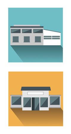loading dock: Distribution and Retail. Flat icons of Distribution and Retail buildings.