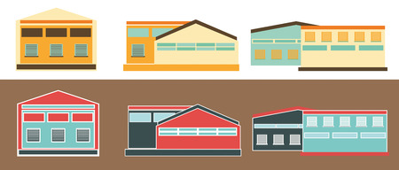 loading dock: Warehouses. Flat icons of Warehouse and Distribution buildings.