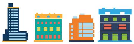 super market: Commercial buildings.  Flat icons of Commercial buildings. Illustration