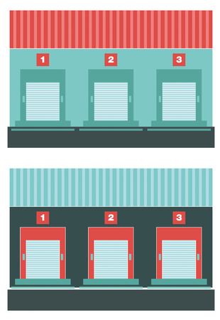 loading dock: Loading dock. Flat icon of loading dock. Front view.