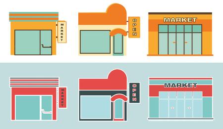 super market: Retail. Flat icons of Retail buildings.
