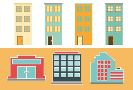 super market: Urban Buildings. Flat icons of Residential and Office buildings. Illustration