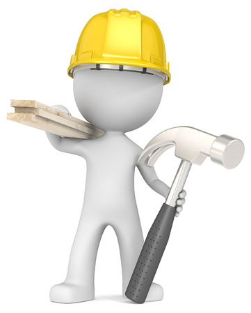 The Carpenter. Dude the Carpenter holding planks and hammer. Stockfoto