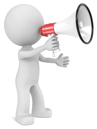 noisy: News. The dude 3D character holding Megaphone. Stock Photo