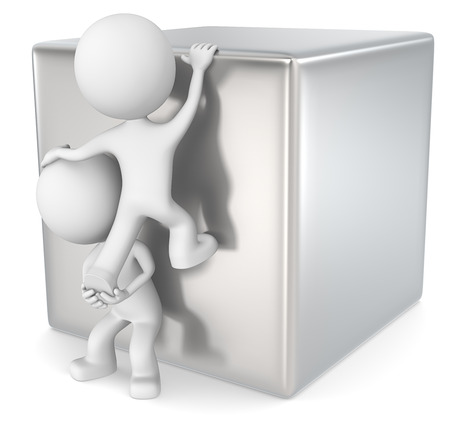 intrusion: Determination. The dude 3D character x2 climbing a metal cube. Stock Photo