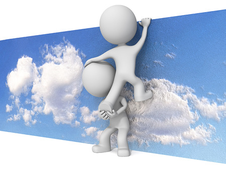 Sky is Not the limit. The dude 3D character x2 climbing abstract sky wall.