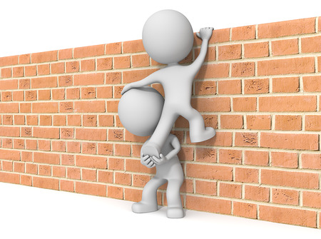 Over the wall. The dude 3D character x2 climbing Brick wall.