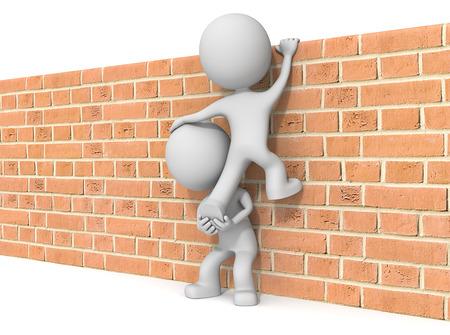 escalando: Por encima del muro. El tipo 3D x2 carácter escalar la pared de ladrillo. Foto de archivo