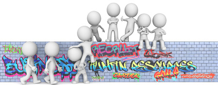 recruit help: Human Resource Management. The dude 3D character x9 on Graffiti wall. Stock Photo