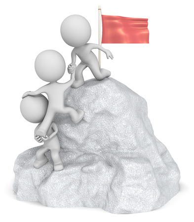 Veroveren. De kerel 3D karakter x3 beklimmen van een berg met een top van de Vlag.