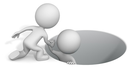 rescued: Reaching hand. The dude 3D character helping buddy. Stock Photo