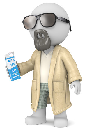 slacker: The Dude. The Dude 3D character holding a Milk Carton.