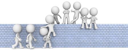 Team Building. De kerel 3D karakter X9 op klimmen op een muur. Stockfoto - 36230847