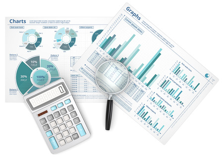 Forecast. Business data infographics with magnifying glass and calculator.