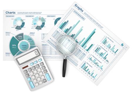Prognose. Zakelijke gegevens infographics met vergrootglas en rekenmachine. Stockfoto - 36230848