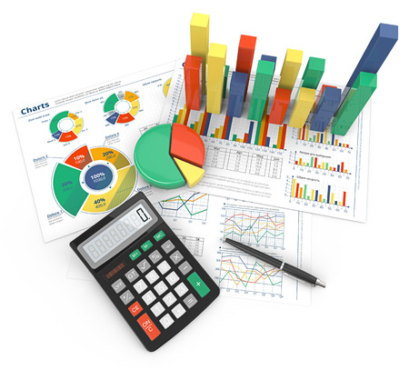 Financial Reports. Abstract colorful infographics documents and 3D graphs and charts. Archivio Fotografico