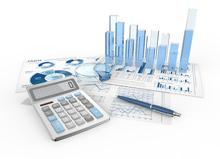 Financial Reports. Abstract infographics documents and 3D graphs and charts. Stock Photo