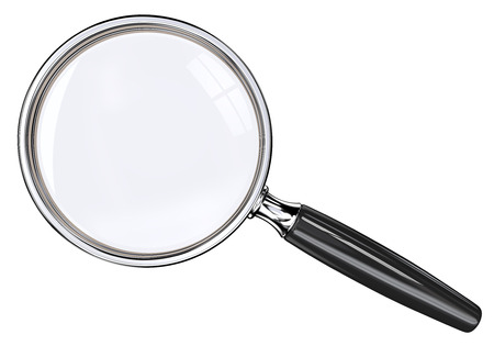 find glass: Magnifying Glass. Isolated magnifying glass. Black and metal. Stock Photo