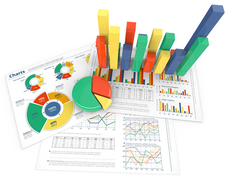 Analyze. Colorful infographics documents with 3D graphs and charts. Stok Fotoğraf