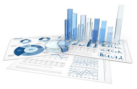 Analyseer. Blauwe infographics documenten met 3D-grafieken en diagrammen van glas. Stockfoto