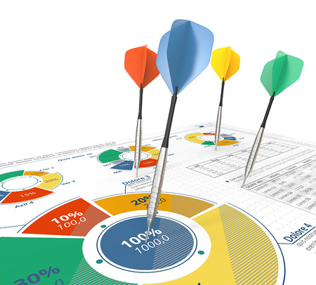 price hit: Target Groups. Colorful Darts on infographics document with pie charts.