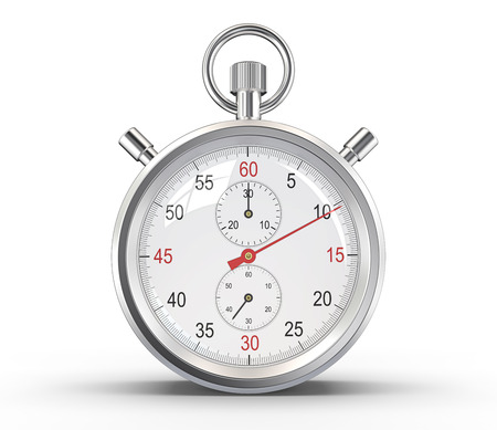Stopwatch. Classic stopwatch. Glass reflections and ground shadow. Clipping path.