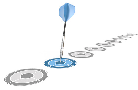 Decision. Diagonal row of targets. Blue dart hitting target.