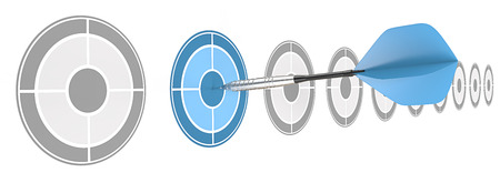 strategical: Strategical. Horizontal row of targets. Blue dart hitting target. Stock Photo