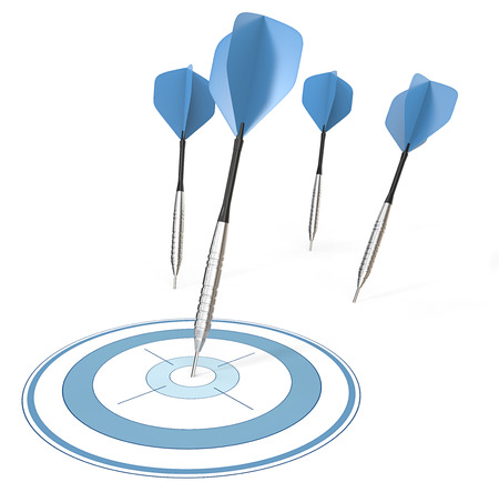 strategical: Accurate. 4 Dart arrows. One hitting target. Blue theme.