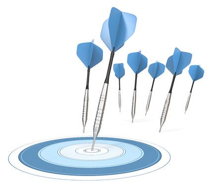 bullseye: Success. 7 Dart arrows. One hitting target. Blue theme.