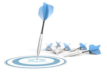 TARGET: Target Marketing. Blue darts. One hitting target. Rest laying on ground.
