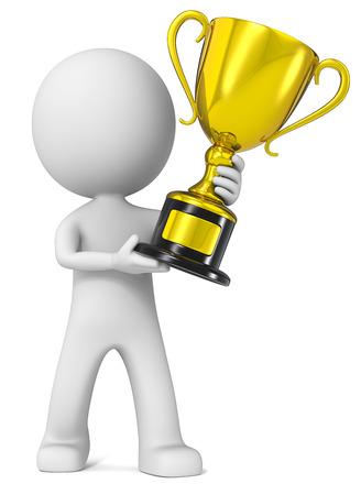 Winnaar. De kerel 3D karakter houden Gold Trophy.