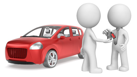 selling service: Buy a Car. The dude 3D character getting Keys to Red Car. No Branded.