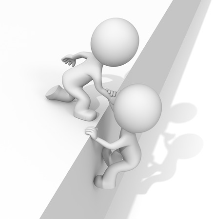 climbing wall: Helping hand. The dude 3D character helping hands. Hard shadow. Stock Photo