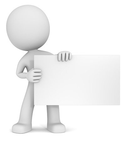 Message. The dude 3D character holdning blank card. White, Copy Space.