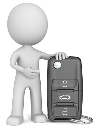 salesmen: Car Key. The dude 3D character holding Car Key. Stock Photo