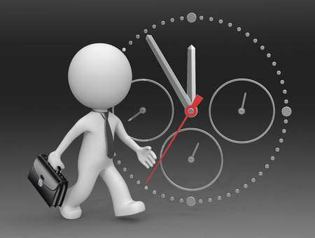 hurry up: Hurry Up. The dude 3D character businessman rushing. Clock on black background. Stock Photo