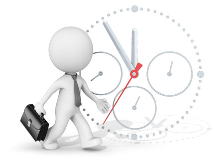 Deadline. The dude 3D character businessman rushing. Clock in background.