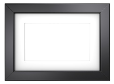 simple border: Black picture frame. Picture frame with Passepartout. Black, isolated. Stock Photo