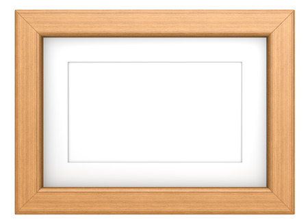 wooden frame: Teak picture frame. Wooden frame with Passepartout. Teak, isolated. Stock Photo