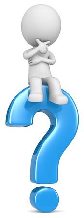 punto interrogativo: Domanda. Il tizio carattere 3D che si siede sul punto interrogativo blu.