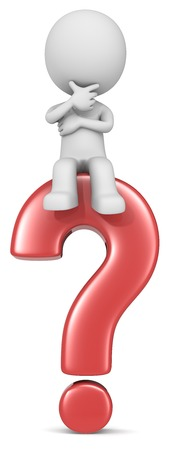 Question. The dude 3D character sitting on red question mark.
