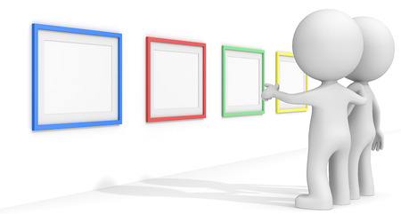 passe: SEO. The dude 3D characters pointing at Colorful Frames.