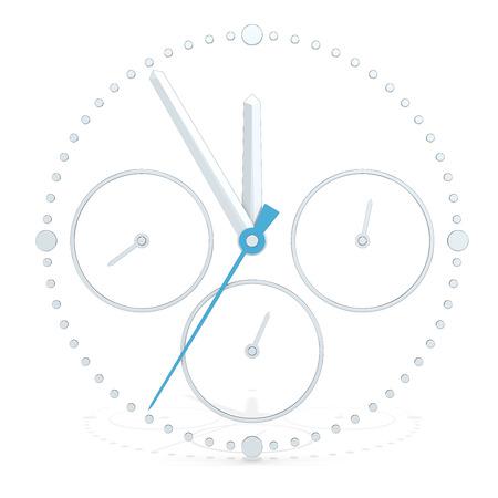 cronografo: Cinco a doce. Cronógrafo de metal 3D abstracto. Azul de segunda mano.