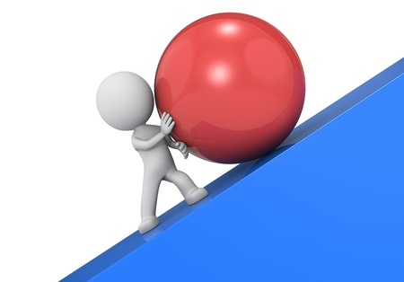 people in action: Determination. The dude 3D character, a large red ball and a steep slope. Stock Photo