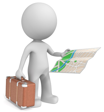 dude: Travel. The dude 3D character holding retro suitcase and city map.