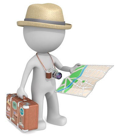 slr: The Tourist. The dude 3D character holding vintage Suitcase, post-retro SLR Camera and City Map. Stock Photo