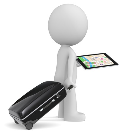 hard to find: Find the way. The dude 3D character holding suitcase tablet computer GPS.